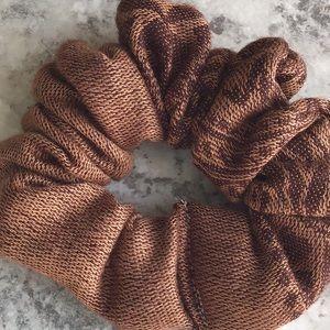 Chocolate brown Pashmina hair scrunchie Ponytail